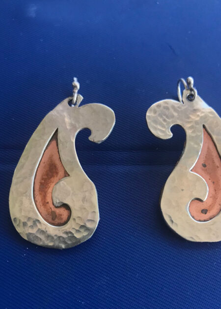 Curved Silver & Brass Earrings - Mary Page Jones Art