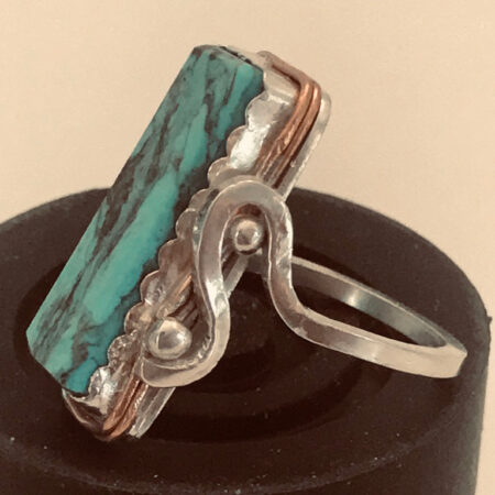 Flowing Stream Turquoise, Copper and Silver Ring