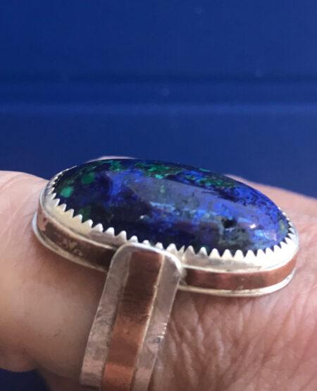 Ocean Depth-Azurite, Sterling & Brass Ring. Mary Page Jones Jewelry