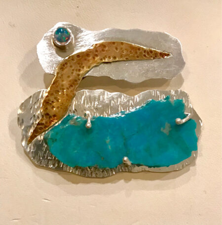 Rain Cloud; Turquoise, Opal & Copper Pendant. Mary Page Jones Jewelry