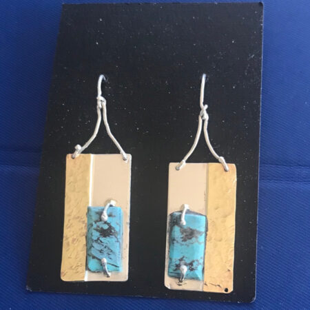 Turquois And Brass Earrings - Mary Page Jones Jewelry